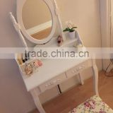 European Style Furniture Garden Style White Color Wooden Dressing Table Cosmetic Table With Stool French Luxury Dressing Table