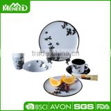 36pcs Two tone white & black melamine tableware, bamboo printed royal good quality dinner sets