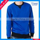Crew neck plain blue pullover sweatshirt hoody without hood