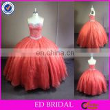 NC927 Shiny Beaded Sweetheart Orange Organza Ball Gown Puffy Quinceanera Dress