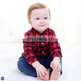 T-BSS009 Kids Beautiful Model Plaid Lapel Latest Shirt Design for Boys