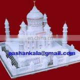 White Marble Handmade Taj Mahal Replica India Stone Art Gift Home Decoration