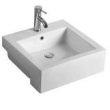 Ceramic semi bathroom square single hole white color hung basin sink