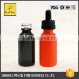 wholesale glass bottles orange black round 30ml frosted glass bottle with dropper with childproof evident cap clear glass bottle