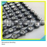 Plastic Rhinestone Cup Chain Sew on Black Banding Ss16 4mm Crystal 130 Pcs 10 Yards
