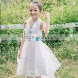2016 New Style Beautiful Girl Blue Flower Dress Boutique Sleeveless Princess Dresses Elegant lace Tutu Dress