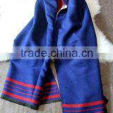 High Grade Fashion Women Brand Navy Blue Wool Cashmere Scarf Pashmina with Fringes