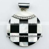Black Shell Mother Of Pearl Checkerboard Pendant Silver
