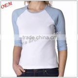 Professional high quality women blank 3/4 Sleeve t shirt manufacturers                                                                         Quality Choice