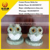 mini aquamarine stone garden ornaments owl
