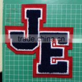 simple letters JE for baseball caps chenille patches,custom embroidery chenille patches