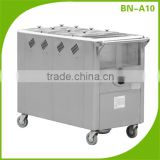 (BN-A10) Cosbao gas 8 pan porridge mobile trolley, food warmer trolley, stainless steel trolley
