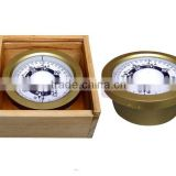 Brass compass for fishing boat with wooden box