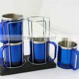 220ml 4 in 1 Coffee Mug Set with Mug Stand, Cheap Plastic Stainless Steel insulated Coffee Cup