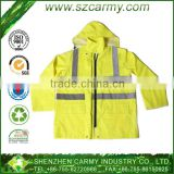 Reflective Safety PU coated oxford rain jacket with hoodie