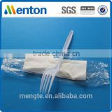 Wholesale restaurant set of plastic cutlery fork and napkin