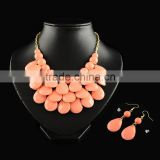 Teardrop Bubble Beaded Bib Necklace and Earrings Jewelry Sets for Women Fashion Jewelry Set 2015(SJEW-S005-08)