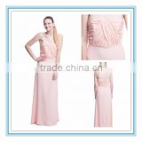 2015 Hot Sell Peach Pleated Bridesmaid Gown Strapless Bodice Floor Length Chiffon Bridesmaid Dress Patterns (LLKT-1003)