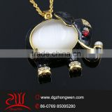 Fashion 2015 staianless steel big stone doll pendant custom elephant pendant design