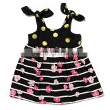 beautiful striped black dress pink flower printed with yellow spot frocks design wedding party dresses for baby girls