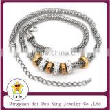 High Quality Fashion Stainless Steel Gold Color Beads Net Chain Magnetic Clasp Lady Necklace With Crystal Charm Made In China