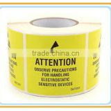ESD BOPP film Yellow Caution/Attention Tape For electrical Warning Use
