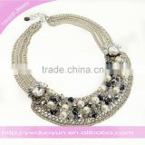 Love Actually Chunky Rhinestone and Pearl Wedding Sliver Bib Necklace