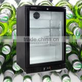 Shunling Wholesale Counter top hotel 130L commercial single glass door mini refrigerator