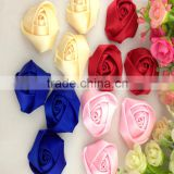 Factory Wholesale Cheap Top Quality Handmade Rose Polyester Satin Ribbon Flowers And Bow For Decorative Making Wedding bouquet