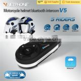NEW V5 Wireless Hands free Walkie Talkie Bluetooth Motorcycle Helmets for 5riders 1200m full duplex talking same time