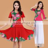 square dance dress suit Digital printing middle-aged and old spring and summer long, short-sleeved adult performance clothing