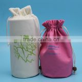 Hot sales good quality drawstring custom round bottle bags.bottle packing bags
