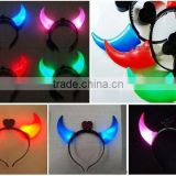 Wholesale Hot sale Flashing LED OX Horn Head Band Shiny Hair Band Headwear / LED Party Favor Flashing Light Up Headband Dress Up