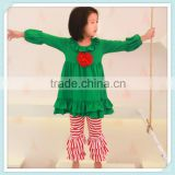 Solid Cotton Green Dress Casual Ruffle Stripe Pant China Clothing Wholesale Persnickety Boutique Dress Outfits With Lace Flower
