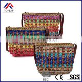 Fashion Women Weaving Bucket Style Travel Beach Shoulder Bags Charming Rainbow Color Summer Straw Bag For Vacation 2016