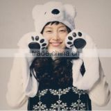 Costume Polar Bear Plush with Mittens Toy Halloween Animal Cloth Christmas Gift