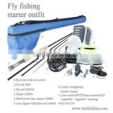 Fly fishing starter outfit/kits, combo of fly reel, rod, box, line, accessory