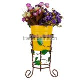 Attractive Metal stand with Yellow pot / planter / container for home & kitchen decor
