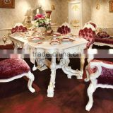 French Antique Wooden White Dining Table With Purple Fabric Dining Chair For 6 People / Luxury European Dining Room Furniture