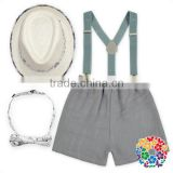 Hot Fashion Boys Bow Tie And Suspenders Shorts Set Baby Clothes Set With Caps Wholesale Boys Gentleman Outfits