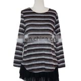 With Chiffon Lining Acrylic Striped Frill Hem Casual Wear Tunic For Fat Women