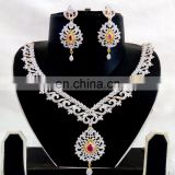 Indian Gold Plated American Diamond Jewellery-Wedding wear CZ Stone Necklace set-Wholesale American Diamond Jewelry-Party wear