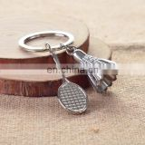 custom sport key holder ball badminton keyring metal 3d mini badminton keychain metal for club game gifts