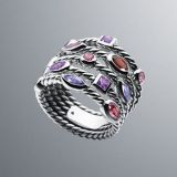 Sterling Silver Jewelry Five-Row Berry Confetti Ring(R-224)