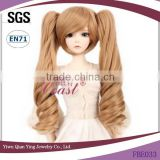 Cheap Synthetic Hair fashion doll wig with two brown clip ponytail