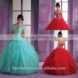 Latest Sweetheart Neckline Beaded Bodice Ruffle Tulle Red Quinceanera Dresses