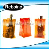 Free sample Design Printed Various Color Transparent PVC Plastic Carryingpvc ice bag Wine Beer Bottle Ice cooler Bag