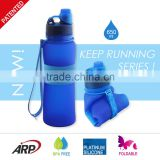 New 650ml/22oz Collapsible, Rollable Silicone Water Bottle with Screw Cap, BPA Free, Up to LFGB Standard