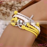 Mixed-Color Fashion Cross 8 word Leather&Nylon Charm Infinity Bracelet/Hand chain Alloy jewelry
