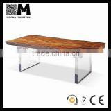 simple style home furniture solid natural wood top arylic legs table slab live edge table